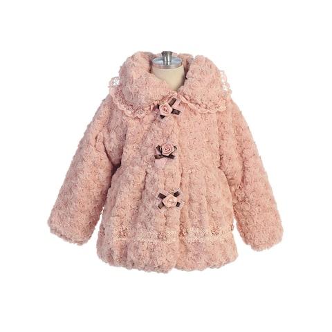 Bijan Kids Little Girls Dusty Pink Fluffy Faux Fur Rose Detail Jacket