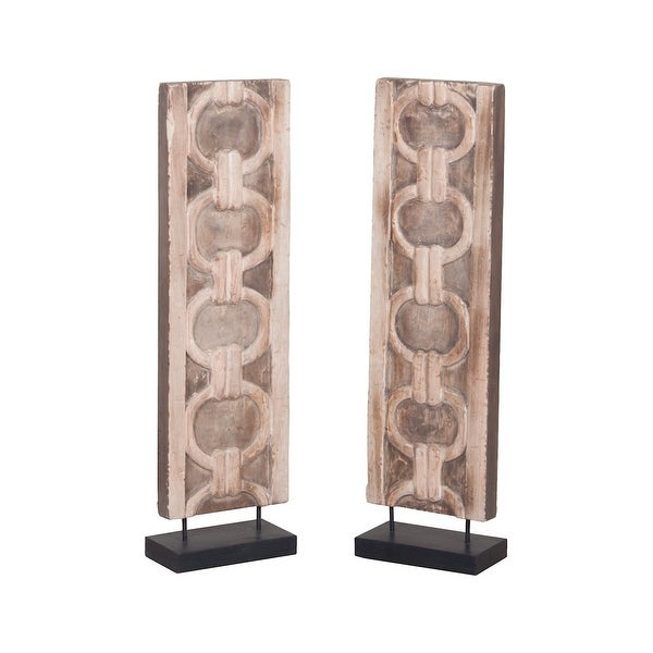 GuildMaster 2516541S 2 Piece Wood Pillar Statue - Natural
