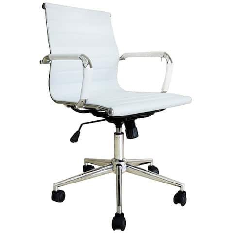 Mid Century Office Chair With Arms Wheels Ergonomic Executive PU Leather Arm Rest Tilt Adjustable Height Swivel Task Computer