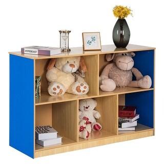 Costway 5 Compartment Storage Cabinet Bookcase Shelf Rack Organizer Kids Toy Box - wooden color & blue