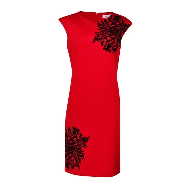 Calvin Klein Women's Floral Velvet-Print Scuba Sheath Dress (8, Red/Black) - Red/black - 8