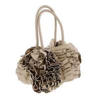 Scheilan  Taupe Fabric Ruffled Top Handle Bag
