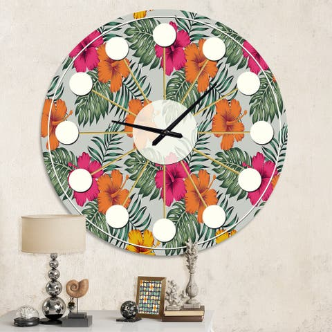 Designart 'Retro tropical Leaves III' Mid-Century wall clock