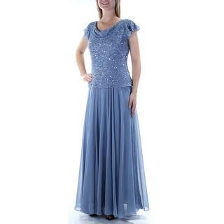 JKARA $239 Womens New 1151 Light Blue Sequined Cap Sleeve Sheath Dress 8 B+B