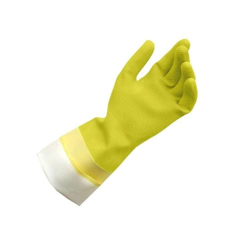 Quickie 12141 Yellow Latex Gloves, Medium