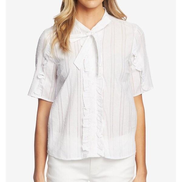 CeCe Women's Top White Size Medium M Button Down Tie Neck Cotton