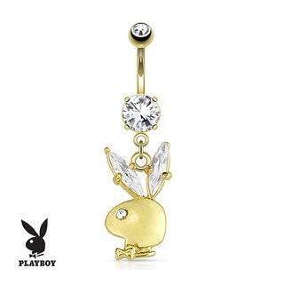 Playboy Bunny Gemmed Ear Dangle gold-plated Navel Belly Button Ring