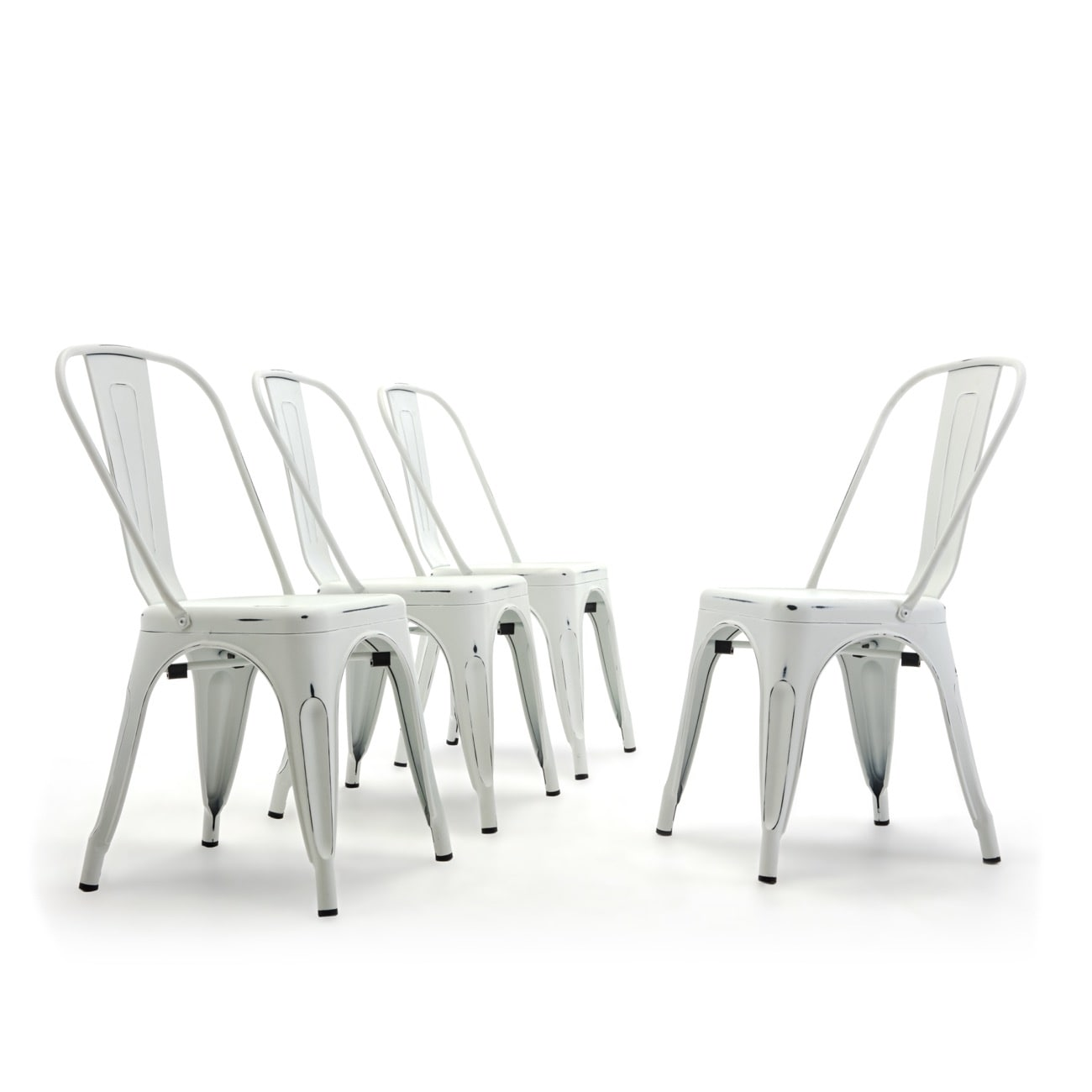 Belleze Trattoria Dining Chair Metal Stackable Set Of 4