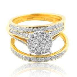 1.00ctw Wedding Ring Set Princess Cut and Round Diamonds 3 Pc Set 10mm Wide (i2/i3, i/j)