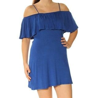 Womens Blue Spaghetti Strap Mini Fit + Flare Dress Size: S