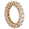 4.00 cttw. 14K Rose Gold Round Diamond Eternity Ring - Thumbnail 2