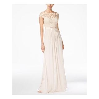 ADRIANNA PAPELL Silver Sleeveless Full-Length Sheath Dress  Size 6M