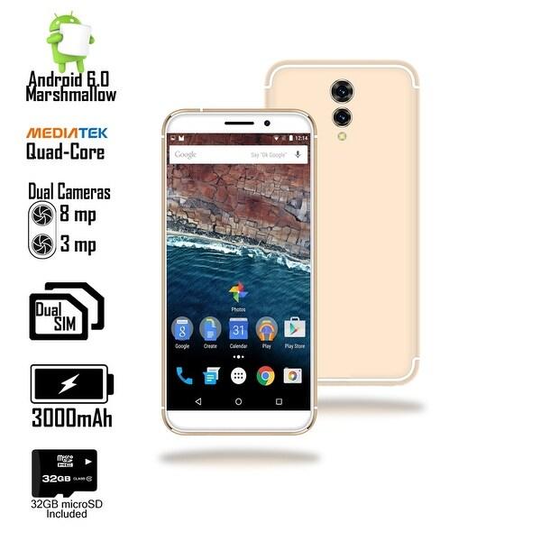 Indigi 4G LTE Unlocked 5.6-inch Android 6.0 SmartPhone w/ QuadCore @ 1.2GHz + Fingerprint Scan) (Gold) + 32gb microSD