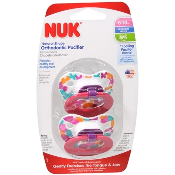 NUK Orthodontic Silicone Pacifier, 6-18 Months, Trendline, (colors may vary) 2 ea