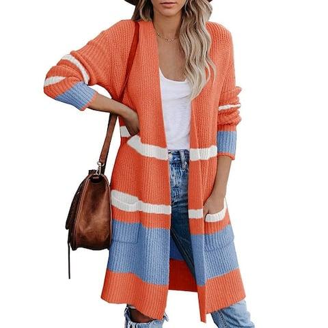 Haute Edition Open Front Colorblock Stripe Sweater Knit Cozy Cardigan