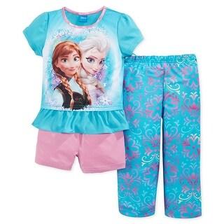 Disney Girls 4-10 Frozen 3-Piece Pajama Set - Blue