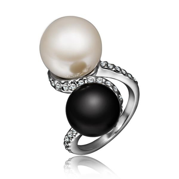 White Gold Plated Double Pearl & Onyx Swirl Ring