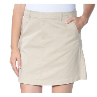 Womens Beige Mini A-Line Skirt Size 8