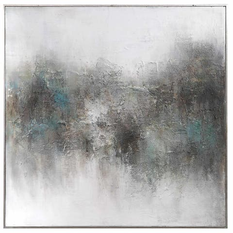 """Uttermost 31326 Picturesque 48-3/4"""" Square Framed Abstract Painting on Paper by Matthew Williams - Grays / Soft Blue Green"""