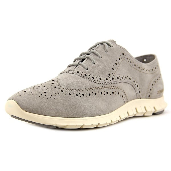 Cole Haan Zerogrand Wingtip Ox Women Round Toe Suede Gray Oxford