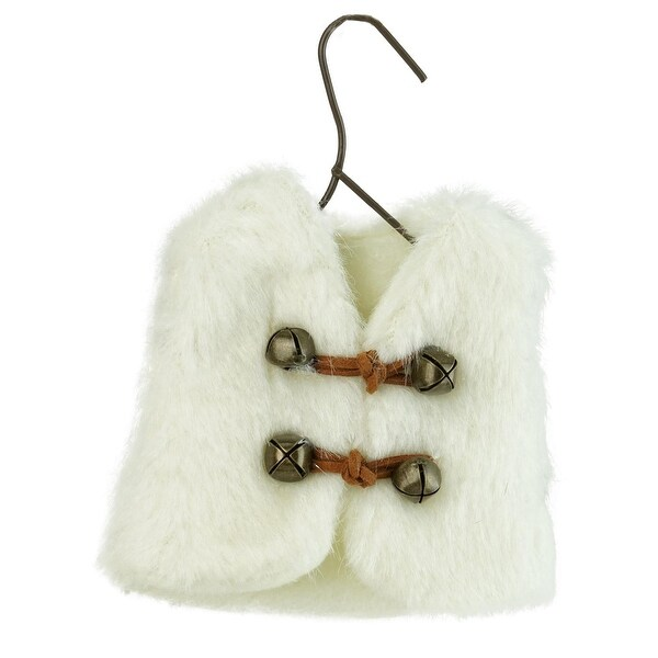 "5.5"" Winter's Beauty White Faux Fur Vest Christmas Ornament with Jingle Bells"