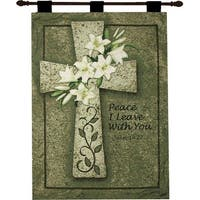 """Religious Bible Proverb John 14:27 Wall Hanging Tapestry 26"""" x 36"""" - Green"""