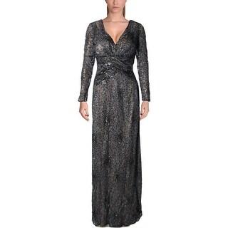 David Meister Womens Evening Dress Metallic Sequined