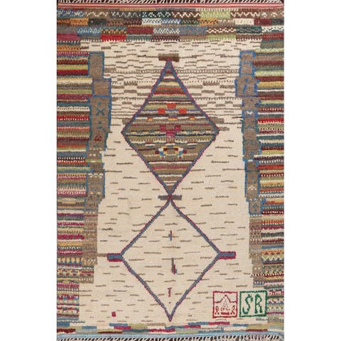 """Geometric Moroccan Oriental Tribal Area Rug Hand-knotted Wool Carpet - 8'0"""" x 10'8"""""""