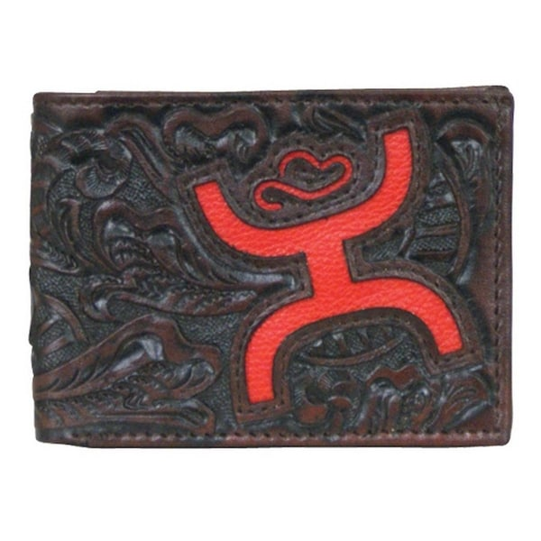 HOOey Western Wallet Men Bifold Signature Tooled Slots Brown - 4 x 3/4 x 3