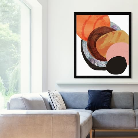Oliver Gal 'Bonfire' Abstract Framed Wall Art Prints Paint - Orange, Brown