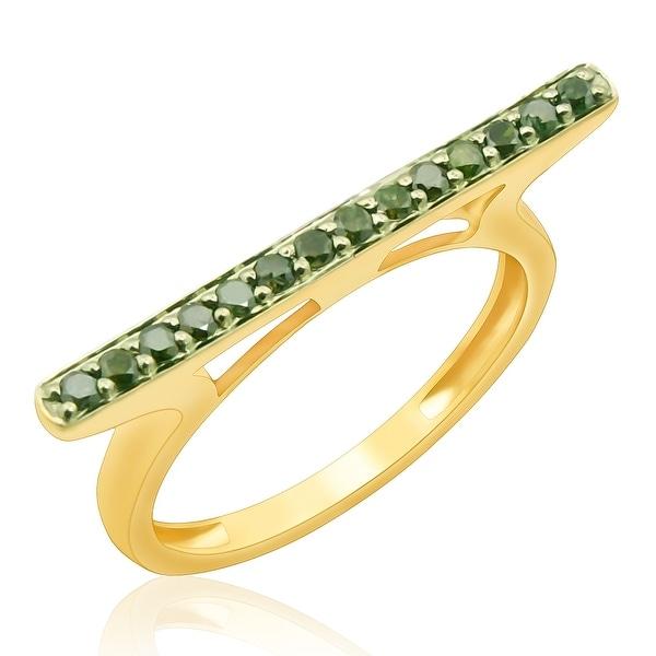 Fabulous 0.25 Carat Round Brilliant Cut Green Diamond Stylist Ring