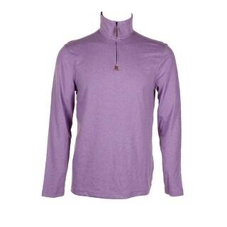 Tasso Elba Lavender Heather Long Sleeve Quarter-Zip Cotton Sweater S