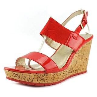 Bandolino Annika Women Open Toe Synthetic Red Wedge Sandal