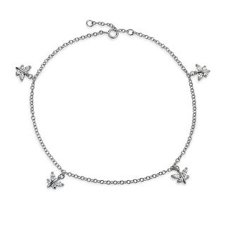 Bling Jewelry Butterfly Charms Anklet Marquise CZ Rolo Chain Bracelet 925 Sterling Silver