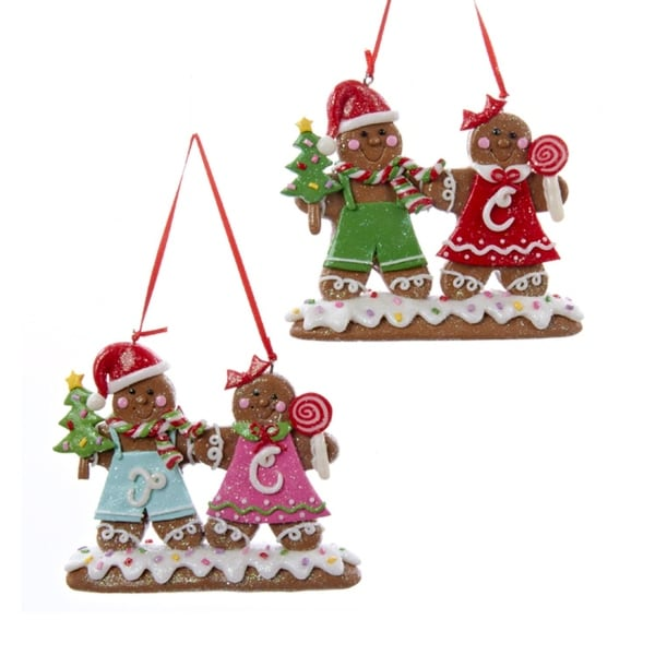 """4.5"""" Gingerbread Kisses Red and Green Cookie Couple Christmas Ornament"""