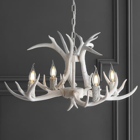 "Eldora 26"" Resin Antler 4-Light LED Chandelier, White by JONATHAN Y"