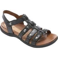 Rockport Women's Cobb Hill Rubey T Strap Sandal Black Leather