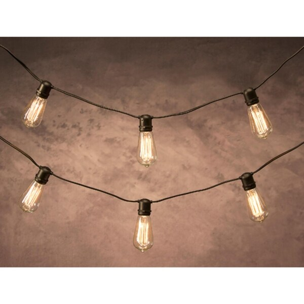 12' Cleveland Vintage Lighting 10 Edison Light Bulb Socket Cord Set - Black Wire