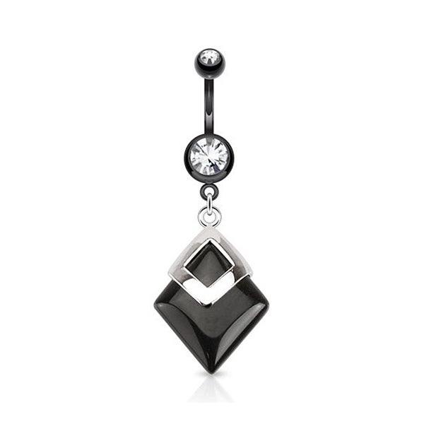 Black Agate Diamond Shaped Semi Precious Stone Mounted 316L Surgical Steel Navel Belly Button Ring