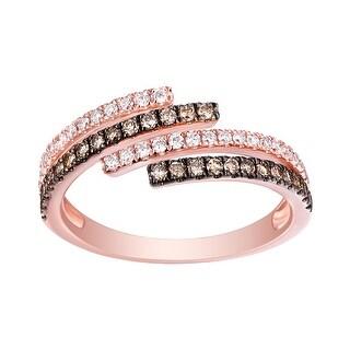 Brand New 0.47 Carat G-H/SI1 Natural Diamond With Brown Diamond Bypass Anniversary Ring - White G-H