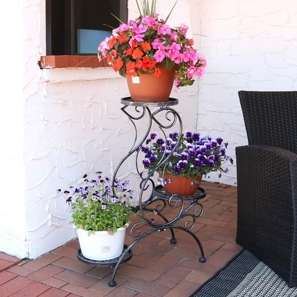 Sunnydaze 3-Tier Victorian Indoor Outdoor Plant and Flower Stand - 31-Inch