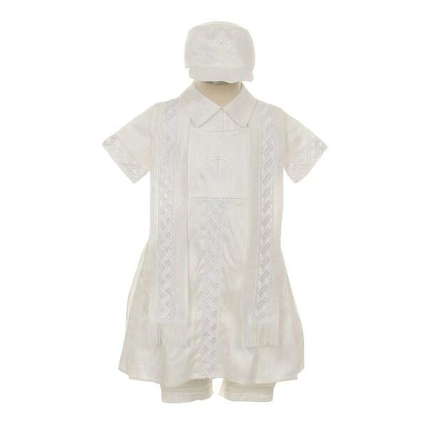 7ae8421b9 Shop Rain Kids Baby Boys White Silk Cross Embroidered Hat Stole ...
