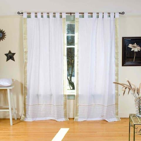White with Gold Tab Top Sheer Sari Curtain / Drape / Panel - Piece