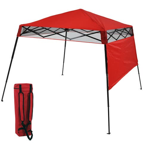 Sunnydaze Compact Quick-Up Slant Leg Instant Pop-Up Backpack Canopy - Red