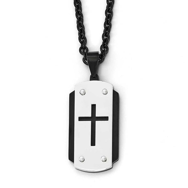 Chisel Stainless Steel Brushed Polished Black IP-Plated Dogtag Necklace - 24 in