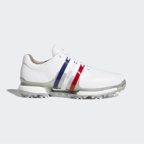 Men's Adidas Tour 360 Boost 2.0 White/Scarlet/Silver Golf Shoes AQ0630 (MED)