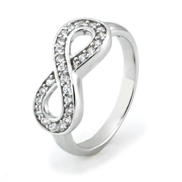 Sterling Silver Infinity Ring w/ Cubic Zirconia