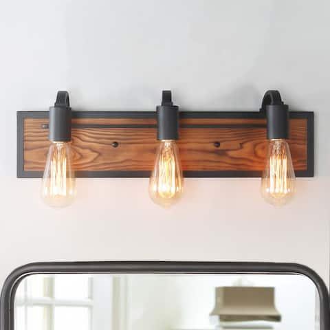 "Farmhouse Wood Bathroom Wall Vanity Marni 3-Light Rustic Wood Wall Sconces - W21.3"" x E4.3"" x H5.9"""
