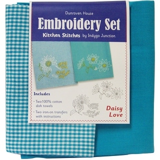 "Daisy Love Kitchen Stitches Tea Towel Embroidery Kit-20""X28"" - White"