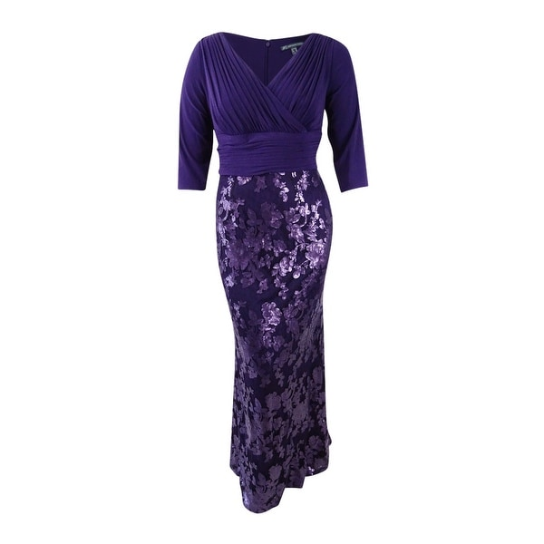 Shop Adrianna Papell Womens Plus Size Sequined Lace Gown